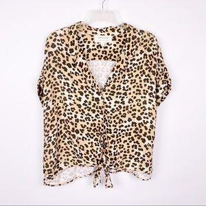Cloth & Stone Leopard Print Button Down Shirt
